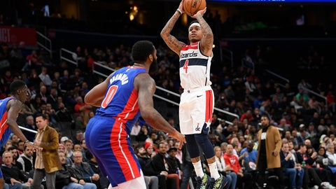 <p>               Washington Wizards guard Isaiah Thomas (4) shoots in front of Detroit Pistons center Andre Drummond (0) during the second half of an NBA basketball game, Monday, Nov. 4, 2019, in Washington. (AP Photo/Nick Wass)             </p>