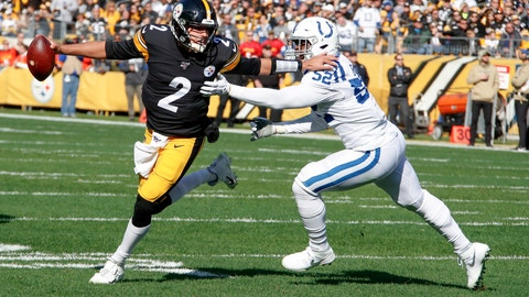 <p>               Pittsburgh Steelers quarterback Mason Rudolph (2) scrambles away from Indianapolis Colts defensive end Ben Banogu (52) in the first half of an NFL football game , Sunday, Nov. 3, 2019, in Pittsburgh. (AP Photo/Gene J. Puskar)             </p>