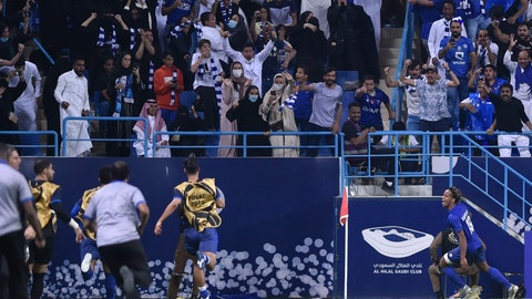 <p>               Al Hilal's Andre Diaz, right, celebrates after scoring his side's opening goal during the first leg of the AFC Champions League final soccer match between Al Hilal and Urawa Red at King Fahd stadium in Riyadh, Saudi Arabia, Saturday, Nov. 9, 2019. Al Hilal won 1-0. (AP Photo)             </p>
