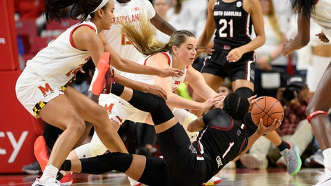 <p>               Maryland forward Faith Masonius, center, forward Stephanie Jones, left, and South Carolina guard Zia Cooke (1) battle for the ball during the second half of an NCAA college basketball game, Sunday, Nov. 10, 2019, in College Park, Md. (AP Photo/Nick Wass)             </p>