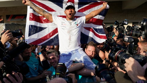 <p>               Mercedes driver Lewis Hamilton, of Britain, celebrates following the Formula One U.S. Grand Prix auto race at the Circuit of the Americas, Sunday, Nov. 3, 2019, in Austin, Texas. (AP Photo/Chuck Burton)             </p>