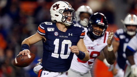 <p>               Auburn quarterback Bo Nix (10) scrambles away from pressure during the second half of the team's NCAA college football game against Mississippi, Saturday, Nov. 2, 2019, in Auburn, Ala. (AP Photo/Butch Dill)             </p>