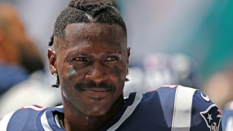 <p>               FILE - In this Sept. 15, 2019, file photo, then-New England Patriots wide receiver Antonio Brown looks on before the start of an NFL football game against the Miami Dolphins at Hard Rock Stadium in Miami Gardens, Fla. Antonio Brown has apologized to the Patriots and team owner Robert Kraft for any negative attention he brought to the team during his brief stint in New England. The four-time All-Pro receiver posted his apology on Instagram Tuesday, Nov. 19, 2019. (David Santiago/Miami Herald via AP, File)             </p>