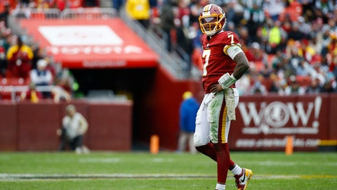 <p>               Washington Redskins quarterback Dwayne Haskins (7) walks off the field during the second half of an NFL football game against the New York Jets, Sunday, Nov. 17, 2019, in Landover, Md. (AP Photo/Patrick Semansky)             </p>