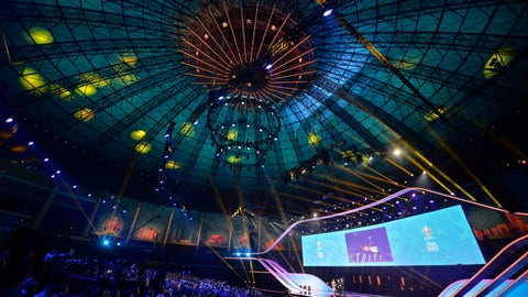 <p>               Presenters come on the stage to start the draw for the UEFA Euro 2020 soccer tournament finals in Bucharest, Romania, Saturday, Nov. 30, 2019. (AP Photo/Andreea Alexandru)             </p>