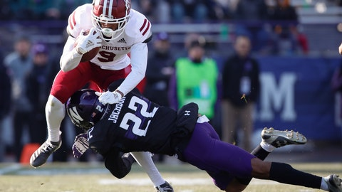 <p>               Massachusetts' Isaiah Rodgers, left, is tackled by Northwestern's Bryce Jackson during the second half of an NCAA college football game Saturday, Nov. 16, 2019, in Evanston, Ill. (AP Photo/Jim Young)             </p>