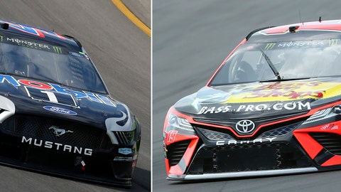 <p>               FILE - At left, in an Aug. 11, 2019, file photo, Kevin Harvick races out of Turn 1 during a NASCAR Cup Series auto race at Michigan International Speedway in Brooklyn, Mich. At right, in an Aug. 3, 2019, file photo, Martin Truex Jr. (19) heads into Turn 1 during practice for the NASCAR Cup Series auto race at Watkins Glen International, in Watkins Glen, N.Y. One race to go to set NASCAR's championship field and the final four is shaping up to be a repeat of last year. Martin Truex Jr. and Kevin Harvick are already in, while Kyle Busch and Joey Logano are above the cutline headed into Sunday's race at ISM Raceway outside of Phoenix. (AP Photo/File)             </p>