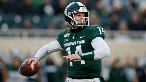 <p>               Michigan State quarterback Brian Lewerke looks to throw against Maryland during the first half of an NCAA college football game, Saturday, Nov. 30, 2019, in East Lansing, Mich. (AP Photo/Al Goldis)             </p>
