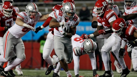 <p>               Ohio State running back Steele Chambers (22) rushes against Rutgers during the second half of an NCAA college football game Saturday, Nov. 16, 2019, in Piscataway, N.J. Ohio State won 56-21. (AP Photo/Adam Hunger)             </p>