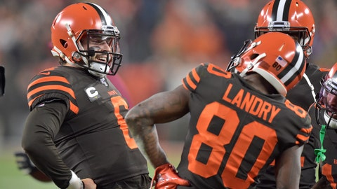 <p>               Cleveland Browns quarterback Baker Mayfield (6) celebrates with wide receiver Jarvis Landry (80) after a 1-yard touchdown pass to Landry during the first half of the team's NFL football game against the Pittsburgh Steelers, Thursday, Nov. 14, 2019, in Cleveland. (AP Photo/David Richard)             </p>