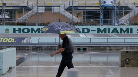 <p>               A crew member walks in the pits during a rain delay of NASCAR auto racing activities on Friday, Nov. 15, 2019, at Homestead-Miami Speedway in Homestead, Fla. (AP Photo/Terry Renna)             </p>