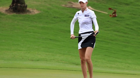 <p>               Nelly Korda of the United States looks at a ball on the firt green during the 4th round of the 2019 Taiwan Swinging Skirts LPGA at the Miramar Golf Country Club in New Taipei City, Taiwan, Sunday, Nov.3, 2019. (AP Photo/Chiang Ying-ying)             </p>