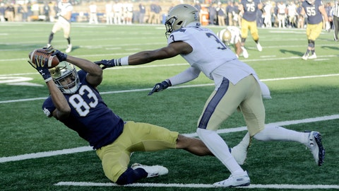 <p>               Notre Dame wide receiver Chase Claypool (83) makes a touchdown reception against Navy cornerback Cameron Kinley (3) during the first half of an NCAA college football game, Saturday, Nov. 16, 2019, in South Bend, Ind.(AP Photo/Darron Cummings)             </p>