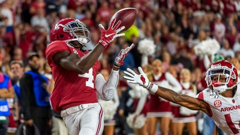 <p>               Alabama wide receiver Jerry Jeudy (4) catches a touchdown pass against Arkansas during the second half of an NCAA college football game, Saturday, Oct. 26, 2019, in Tuscaloosa, Ala. (AP Photo/Vasha Hunt)             </p>