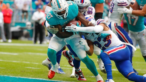 <p>               Miami Dolphins running back Kalen Ballage (27) runs for a touchdown, as Buffalo Bills strong safety Micah Hyde (23) attempts to tackle, during the first half at an NFL football game, Sunday, Nov. 17, 2019, in Miami Gardens, Fla. (AP Photo/Wilfredo Lee)             </p>