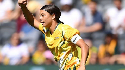 <p>               Sam Kerr of the Matildas celebrates after scoring a goal during the Women's International friendly soccer match between the Australia and Chile at Bankwest Stadium in Sydney, Saturday, Nov. 9, 2019. Football Federation Australia said a record crowd of 20,029 were attracted for the women's soccer match in Australia. (Dan Himbrechts/AAP Image via AP)             </p>