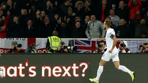 <p>               England's Harry Kane celebrates after scoring his side's second goal during the Euro 2020 group A qualifying soccer match between Kosovo and England at Fadil Vokrri stadium in Pristina, Kosovo, Sunday, Nov. 17, 2019. (AP Photo/Boris Grdanoski)             </p>