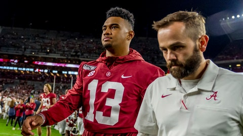 <p>               Alabama quarterback Tua Tagovailoa (13) walks off the field having missed the game due to an earlier injury after an NCAA college football game against Arkansas, Saturday, Oct. 26, 2019, in Tuscaloosa, Ala. (AP Photo/Vasha Hunt)             </p>