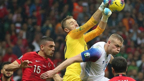 <p>               Turkey's goalkeeper Mert Gunok, center, hits the ball by his teammate Merih Demiral, left, and Iceland's Kolbeinn Sigthorsson, right, during the Euro 2020 Group H qualifying soccer match between Turkey and Iceland in Istanbul, Thursday, Nov. 14, 2019. (AP Photo)             </p>