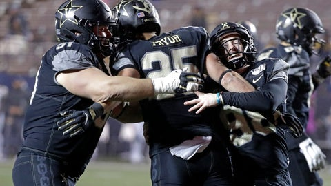 <p>               Vanderbilt running back Mitchell Pryor (25) celebrates with Drew Birchmeier, left, and Ryley Guay, right, after Pryor ran 31 yards for a touchdown against ETSU in the second half of an NCAA college football game Saturday, Nov. 23, 2019, in Nashville, Tenn. Vanderbilt won 38-0. (AP Photo/Mark Humphrey)             </p>