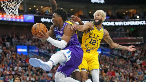 <p>               Utah Jazz guard Donovan Mitchell, left, goes to the basket as Golden State Warriors guard Ky Bowman (12) defends during the second half during an NBA basketball game Friday, Nov. 22, 2019, in Salt Lake City. (AP Photo/Rick Bowmer)             </p>