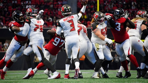 <p>               Tampa Bay Buccaneers quarterback Jameis Winston (3) works in the pocket against the Atlanta Falcons during the first half of an NFL football game, Sunday, Nov. 24, 2019, in Atlanta. (AP Photo/John Amis)             </p>