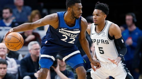 <p>               Minnesota Timberwolves' Andrew Wiggins, left, drives around San Antonio Spurs' Dejounte Murray in the first half of an NBA basketball game Wednesday, Nov 13, 2019, in Minneapolis. (AP Photo/Jim Mone)             </p>