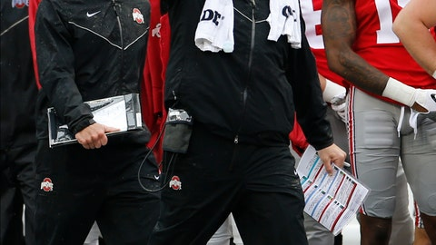 <p>               Ohio State head coach Ryan Day shouts to his team during the second half of an NCAA college football game against Wisconsin, Saturday, Oct. 26, 2019, in Columbus, Ohio. Ohio State beat Wisconsin 38-7. (AP Photo/Jay LaPrete)             </p>