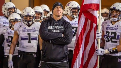 <p>               Northwestern head coach Pat Fitzgerald waits with the team to take the field before an NCAA college football game against Indiana, Saturday, Nov. 2, 2019, in Bloomington, Ind. Indiana won 34-3. (AP Photo/Doug McSchooler)             </p>