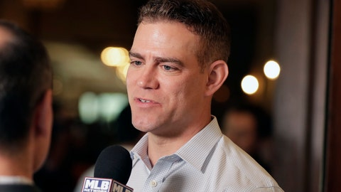 <p>               Chicago Cubs president of baseball operations Theo Epstein speaks at a media availability during the Major League Baseball general managers annual meetings, Wednesday, Nov. 13, 2019, in Scottsdale, Ariz. (AP Photo/Matt York)             </p>