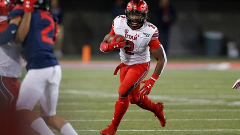 <p>               Utah running back Zack Moss (2) scores a touchdown against Arizona during the second half during an NCAA college football game, Saturday, Nov. 23, 2019, in Tucson, Ariz. (AP Photo/Rick Scuteri)             </p>