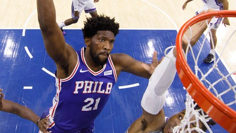 <p>               Philadelphia 76ers' Joel Embiid, left, goes up for the dunk against Sacramento Kings' Richaun Holmes, right, during the first half of an NBA basketball game, Wednesday, Nov. 27, 2019, in Philadelphia. The 76ers won 97-91. (AP Photo/Chris Szagola)             </p>