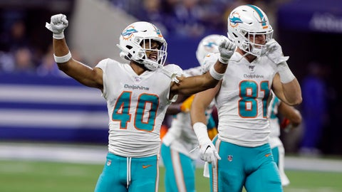 <p>               Miami Dolphins defensive back Nik Needham (40) celebrates in front of tight end Durham Smythe (81) following an NFL football game against the Indianapolis Colts in Indianapolis, Sunday, Nov. 10, 2019. (AP Photo/Darron Cummings)             </p>