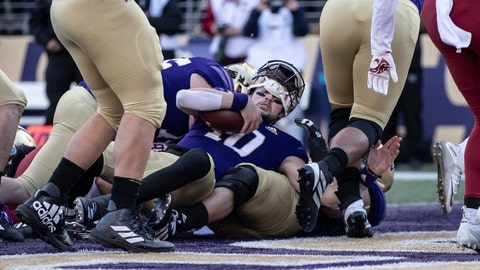 <p>               Washington quarterback Jacob Eason scores a touchdown during the first half an NCAA college football game against Washington State, on Friday, Nov. 29, 2019 in Seattle. (AP Photo/Stephen Brashear)             </p>