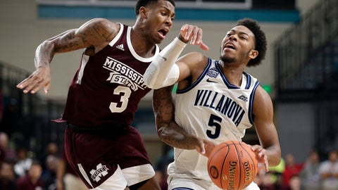 <p>               Mississippi State guard D.J. Stewart Jr. (3) guards Villanova guard Justin Moore (5) during the second half of an NCAA college basketball game at the Myrtle Beach Invitational in Conway, S.C., Friday, Nov. 22, 2019. (AP Photo/Gerry Broome)             </p>