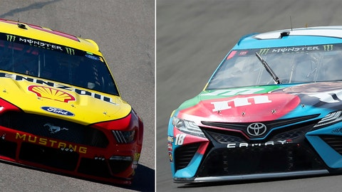 <p>               FILE - At left, in a March 10, 2019, file photo, Joey Logano drives during a NASCAR Cup Series auto race at ISM Raceway, in Avondale, Ariz. At right, in an Aug. 3, 2019, file photo, Kyle Busch heads into Turn 1 during a practice run for a NASCAR Cup Series auto race at Watkins Glen International in Watkins Glen, N.Y. One race to go to set NASCAR's championship field and the final four is shaping up to be a repeat of last year. Martin Truex Jr. and Kevin Harvick are already in, while Kyle Busch and Joey Logano are above the cutline headed into Sunday's race at ISM Raceway outside of Phoenix. (AP Photo/File)             </p>