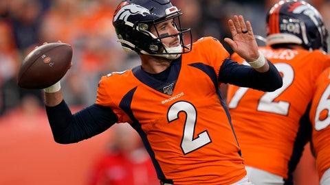 <p>               Denver Broncos quarterback Brandon Allen (2) throws against the Cleveland Browns during the second half of NFL football game, Sunday, Nov. 3, 2019, in Denver. (AP Photo/Jack Dempsey)             </p>