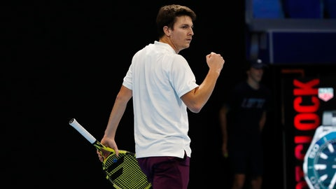 <p>               Miomir Kecmanovic, of Serbia, reacts during a match against Casper Ruud, of Norway, at the ATP Next Gen tennis tournament final, in Milan, Italy, Tuesday, Nov. 5, 2019. (AP Photo/Antonio Calanni)             </p>