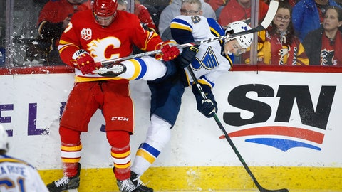 <p>               St. Louis Blues' Sammy Blais, right, is checked by Calgary Flames' T.J. Brodie during the second period of an NHL hockey game in Calgary, Saturday, Nov. 9, 2019. (Jeff McIntosh/The Canadian Press via AP)             </p>
