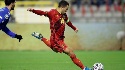 <p>               Belgium's Eden Hazard attempts a shot at goal during the Euro 2020 group I qualifying soccer match between Belgium and Cyprus at the King Baudouin stadium in Brussels, Tuesday, Nov. 19, 2019. (AP Photo/Francisco Seco)             </p>