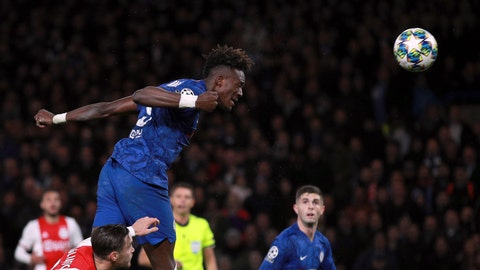 <p>               Chelsea's Tammy Abraham heads the ball during the Champions League, group H, soccer match between Chelsea and Ajax, at Stamford Bridge in London, Tuesday, Nov. 5, 2019. (AP Photo/Ian Walton)             </p>