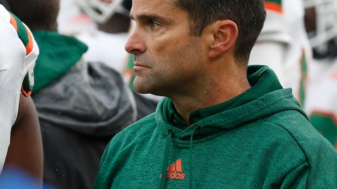 <p>               Miami head coach Manny Diaz watches from the sideline as his team plays against Pittsburgh during the second half of an NCAA college football game, Saturday, Oct. 26, 2019, in Pittsburgh. Miami won 16-12. (AP Photo/Keith Srakocic)             </p>