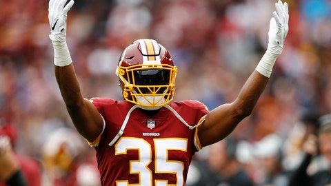 <p>               In this Oct. 14, 2018, photo, Washington Redskins strong safety Montae Nicholson (35) celebrates the Redskins victory after an NFL football game against the Carolina Panthers, in Landover, Md. Authorities say an autopsy is pending for a woman who died after being brought to a Virginia hospital by Nicholson. (AP Photo/Patrick Semansky)             </p>