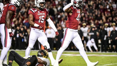 <p>               South Carolina linebacker Sherrod Greene (44) celebrates a tackle with Aaron Sterling (15) during the first half of an NCAA college football game  against Vanderbilt, Saturday, Nov. 2, 2019, in Columbia, S.C. (AP Photo/Sean Rayford)             </p>
