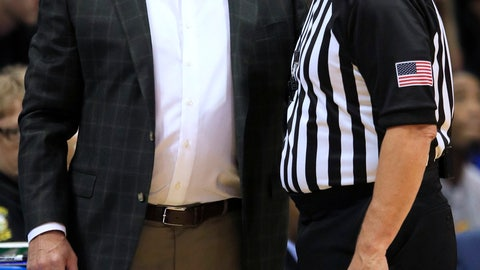 <p>               Kansas coach Bill Self, left, talks with referee Joe DeRosa, right, during the first half of the team's exhibition NCAA college basketball game against Pittsburg State in Lawrence, Kan., Thursday, Oct. 31, 2019. (AP Photo/Orlin Wagner)             </p>