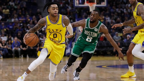 <p>               Golden State Warriors' D'Angelo Russell, left, drives the ball past Boston Celtics' Kemba Walker (8) during the second half of an NBA basketball game Friday, Nov. 15, 2019, in San Francisco. (AP Photo/Ben Margot)             </p>