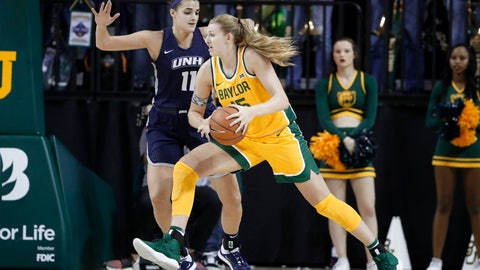 <p>               New Hampshire's Ashley Storey (11) defends as Baylor's Lauren Cox (15) works to the basket for a shot in the first half of an NCAA college basketball game in Waco, Texas, Tuesday, Nov. 5, 2019. (AP Photo/Tony Gutierrez)             </p>