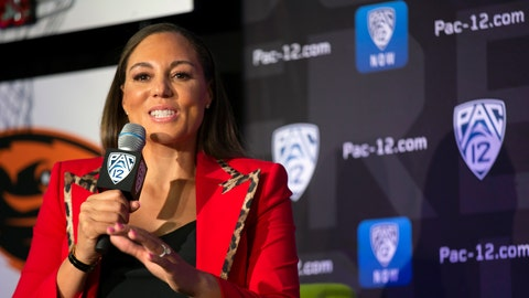 <p>               FILE - In this Oct. 7, 2019, file photo, Arizona head coach Adia Barnes speaks to reporters during the Pac-12 Conference women's NCAA college basketball media day, in San Francisco. Arizona returned to The Associated Press women's college basketball poll for the first time in 15 years while the top of the ballot remained unchanged. The Wildcats (6-0) entered the AP Top 25 at No. 24 on Monday, Nov. 25, 2019, giving the team a spot in the poll for the first time since Dec. 6, 2004. (AP Photo/D. Ross Cameron, File)             </p>