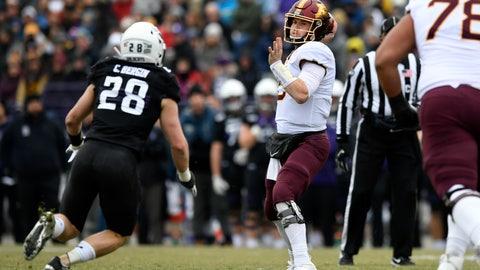 <p>               Minnesota quarterback Tanner Morgan (2) throws a pass against Northwestern linebacker Chris Bergin (27) during the first half of an NCAA football game Saturday, Nov. 23, 2019, in Evanston, Ill. (AP Photo/Paul Beaty)             </p>