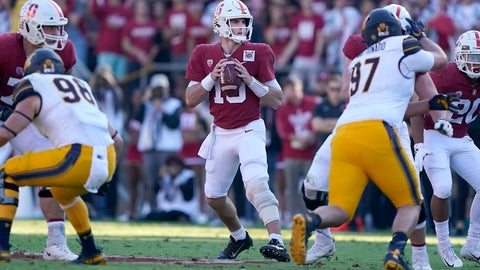 <p>               Stanford quarterback Davis Mills (15) looks to throw a pass against California during the first half of an NCAA college football game Saturday, Nov. 23, 2019 in Stanford, Calif. (AP Photo/Tony Avelar)             </p>